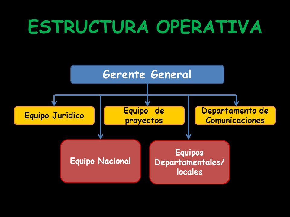 ESTRUCTURA OPERATIVA Gerente General Equipo Jurídico Equipo de proyectos Departamento de Comunicaciones Equipo Nacional Equipos Departamentales/ local