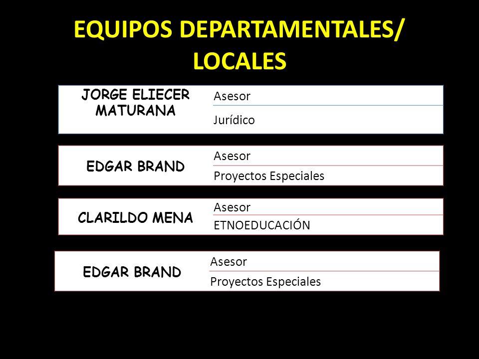 EQUIPOS DEPARTAMENTALES/ LOCALES JORGE ELIECER MATURANA Asesor Jurídico EDGAR BRAND Asesor Proyectos Especiales CLARILDO MENA Asesor ETNOEDUCACIÓN EDG