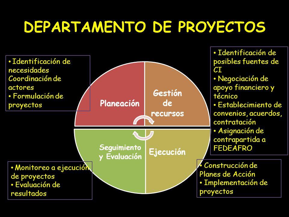 DEPARTAMENTO DE PROYECTOS Planeación Gestión de recursos Ejecución Seguimiento y Evaluación Identificación de necesidades Coordinación de actores Form