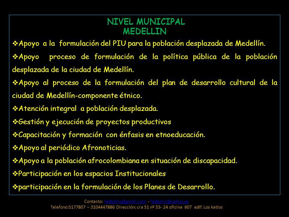 NIVEL MUNICIPAL MEDELLIN Apoyo a la formulación del PIU para la población desplazada de Medellín. Apoyo proceso de formulación de la política pública