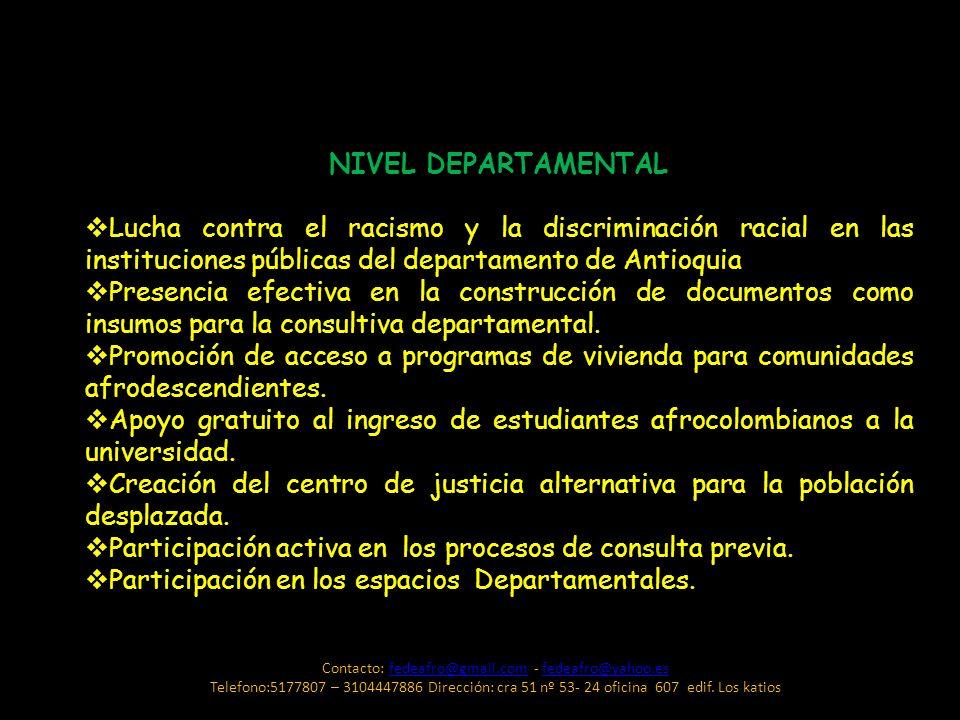 NIVEL DEPARTAMENTAL Lucha contra el racismo y la discriminación racial en las instituciones públicas del departamento de Antioquia Presencia efectiva