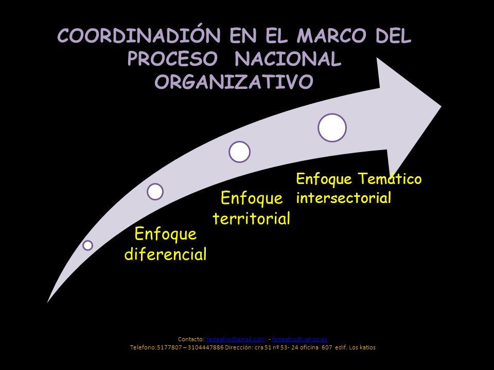 Enfoque territorial Enfoque diferencial Enfoque Temático intersectorial COORDINADIÓN EN EL MARCO DEL PROCESO NACIONAL ORGANIZATIVO Contacto: fedeafro@