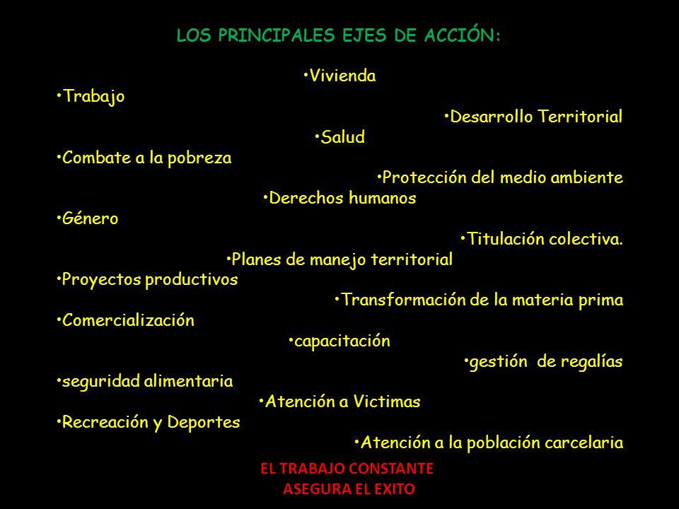 LOS PRINCIPALES EJES DE ACCIÓN: Vivienda Trabajo Desarrollo Territorial Salud Combate a la pobreza Protección del medio ambiente Derechos humanos Géne