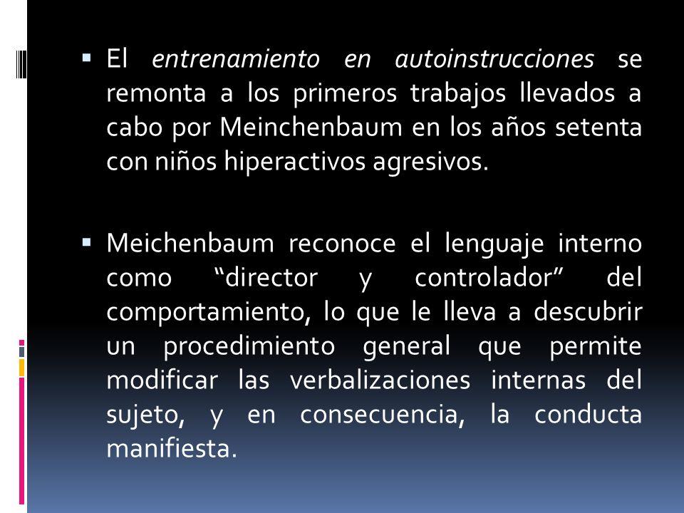 El entrenamiento en autoinstrucciones se remonta a los primeros trabajos llevados a cabo por Meinchenbaum en los años setenta con niños hiperactivos a