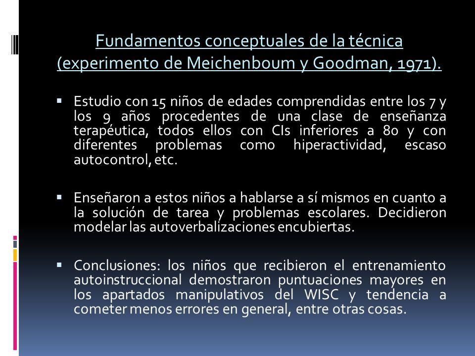 Fundamentos conceptuales de la técnica (experimento de Meichenboum y Goodman, 1971). Estudio con 15 niños de edades comprendidas entre los 7 y los 9 a