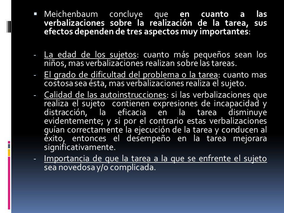 Meichenbaum concluye que en cuanto a las verbalizaciones sobre la realización de la tarea, sus efectos dependen de tres aspectos muy importantes: - La