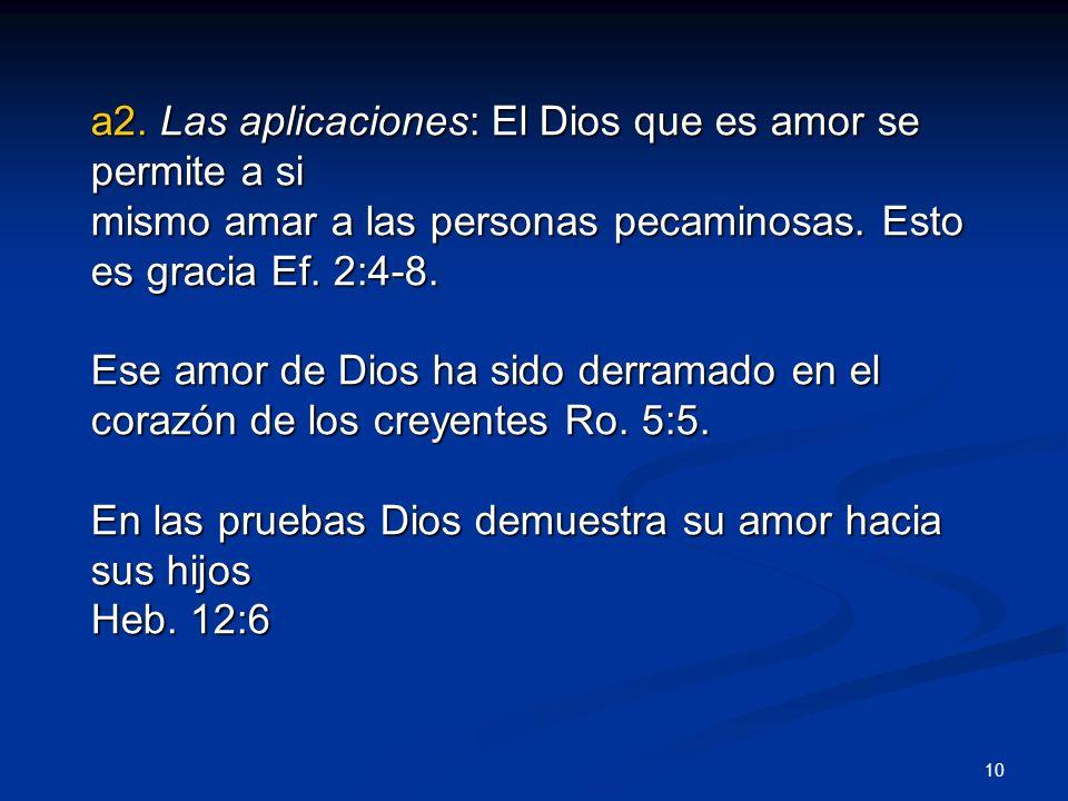 a2. Las aplicaciones: El Dios que es amor se permite a si mismo amar a las personas pecaminosas. Esto es gracia Ef. 2:4-8. Ese amor de Dios ha sido de