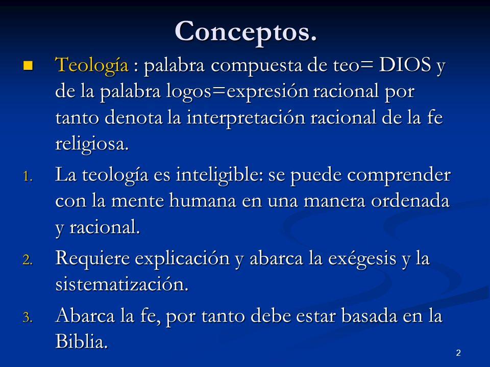 Conceptos. Teología : palabra compuesta de teo= DIOS y de la palabra logos=expresión racional por tanto denota la interpretación racional de la fe rel