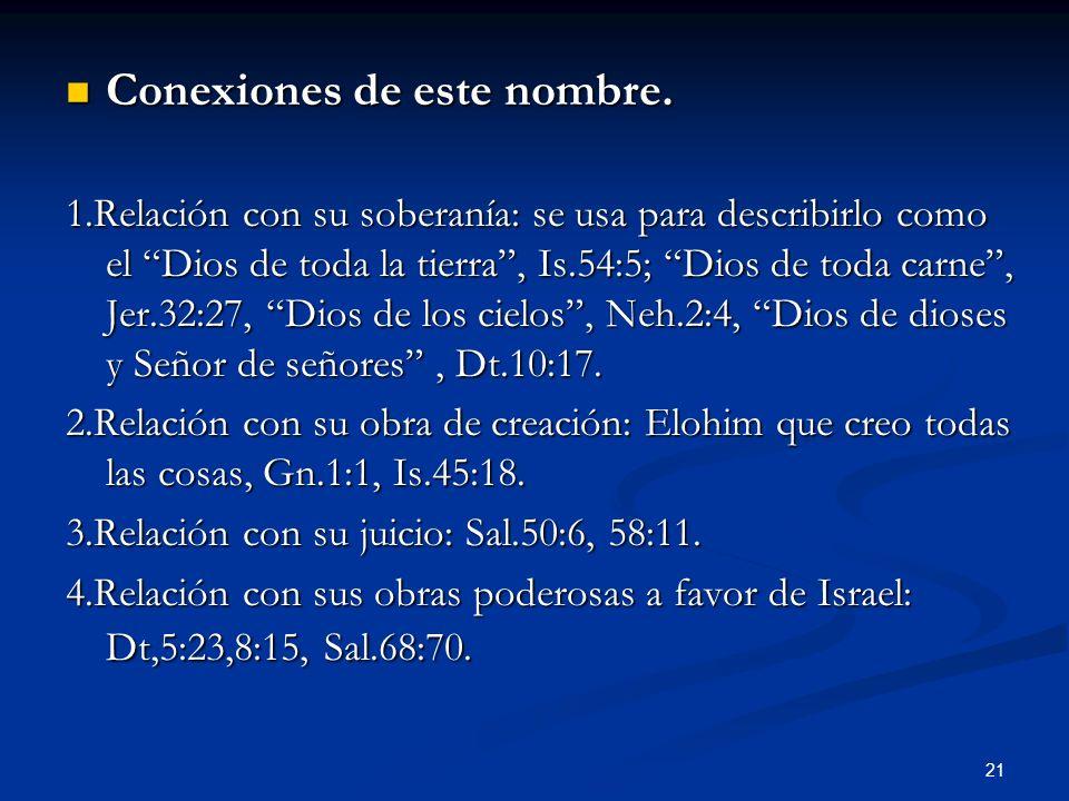 Conexiones de este nombre. Conexiones de este nombre. 1.Relación con su soberanía: se usa para describirlo como el Dios de toda la tierra, Is.54:5; Di