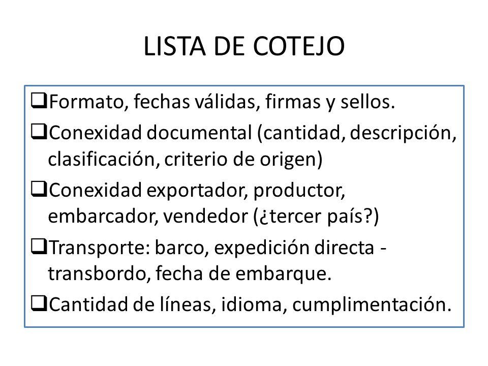 LISTA DE COTEJO Formato, fechas válidas, firmas y sellos. Conexidad documental (cantidad, descripción, clasificación, criterio de origen) Conexidad ex