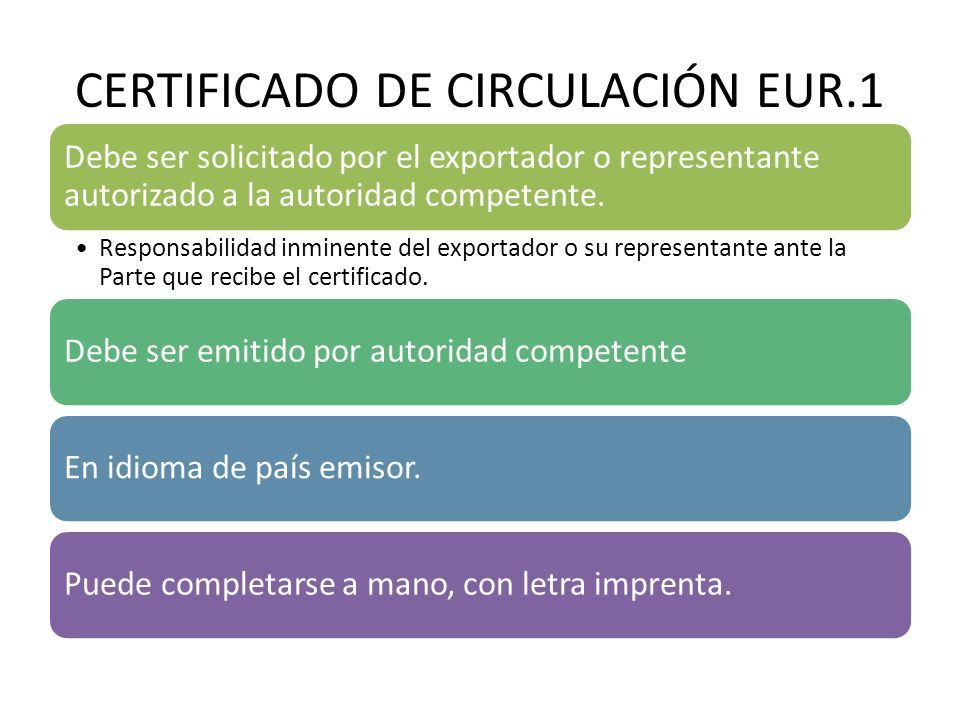 CERTIFICADO DE CIRCULACIÓN EUR.1 Debe ser solicitado por el exportador o representante autorizado a la autoridad competente. Responsabilidad inminente