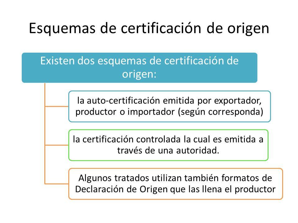 Esquemas de certificación de origen Existen dos esquemas de certificación de origen: la auto-certificación emitida por exportador, productor o importador (según corresponda) la certificación controlada la cual es emitida a través de una autoridad.