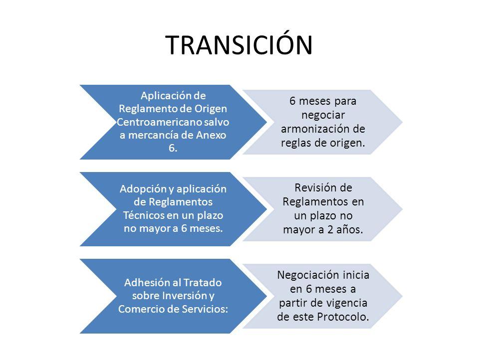 TRANSICIÓN Aplicación de Reglamento de Origen Centroamericano salvo a mercancía de Anexo 6. 6 meses para negociar armonización de reglas de origen. Ad