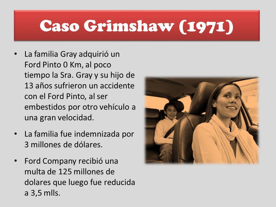 Caso Grimshaw (1971) La familia Gray adquirió un Ford Pinto 0 Km, al poco tiempo la Sra. Gray y su hijo de 13 años sufrieron un accidente con el Ford