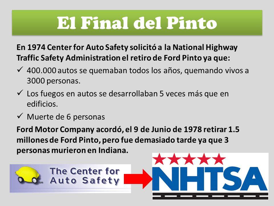 En 1974 Center for Auto Safety solicitó a la National Highway Traffic Safety Administration el retiro de Ford Pinto ya que: 400.000 autos se quemaban