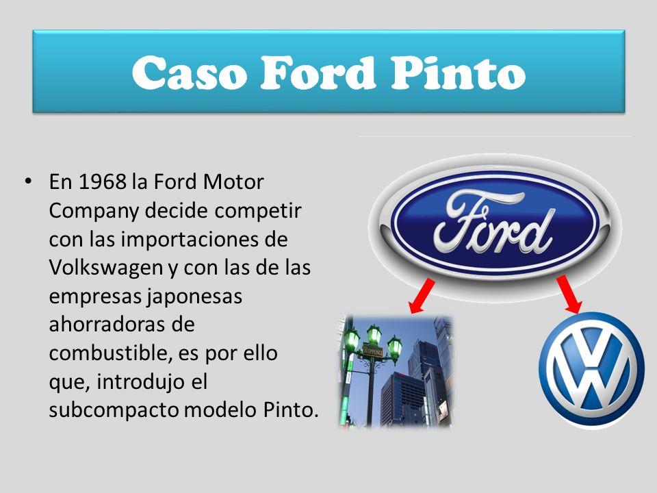 Caso Ford Pinto En 1968 la Ford Motor Company decide competir con las importaciones de Volkswagen y con las de las empresas japonesas ahorradoras de c