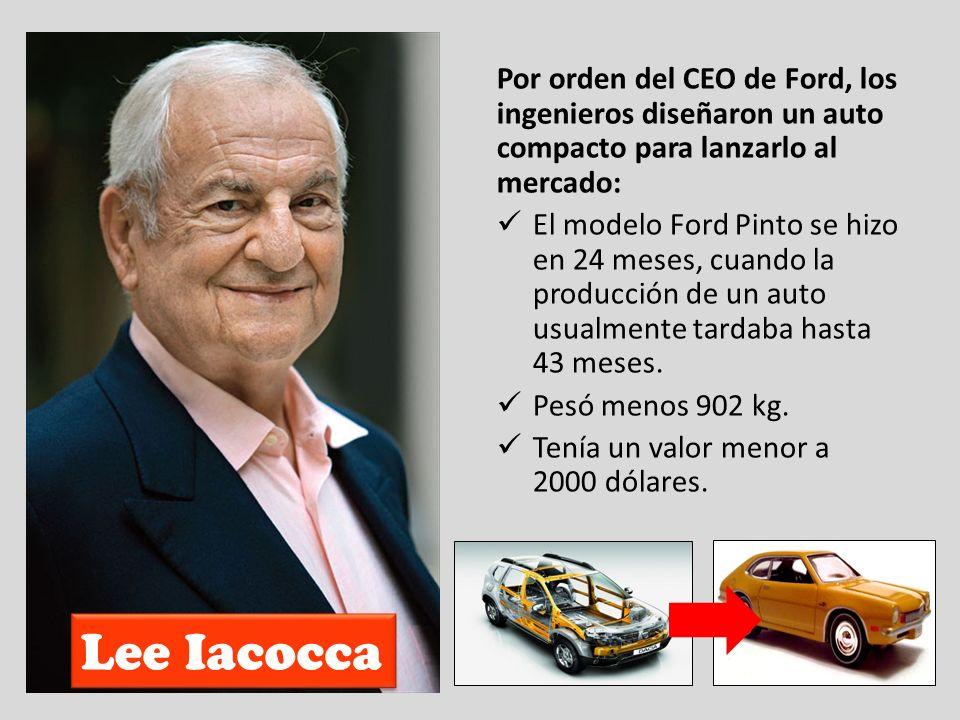 Lee Iacocca Por orden del CEO de Ford, los ingenieros diseñaron un auto compacto para lanzarlo al mercado: El modelo Ford Pinto se hizo en 24 meses, c