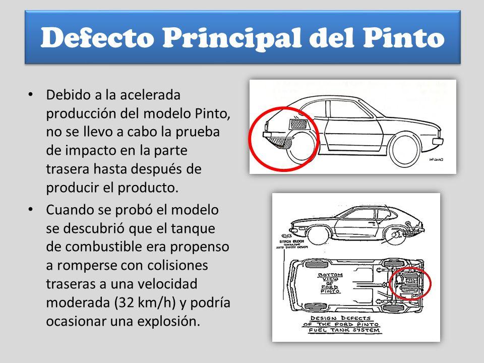 Defecto Principal del Pinto Debido a la acelerada producción del modelo Pinto, no se llevo a cabo la prueba de impacto en la parte trasera hasta despu
