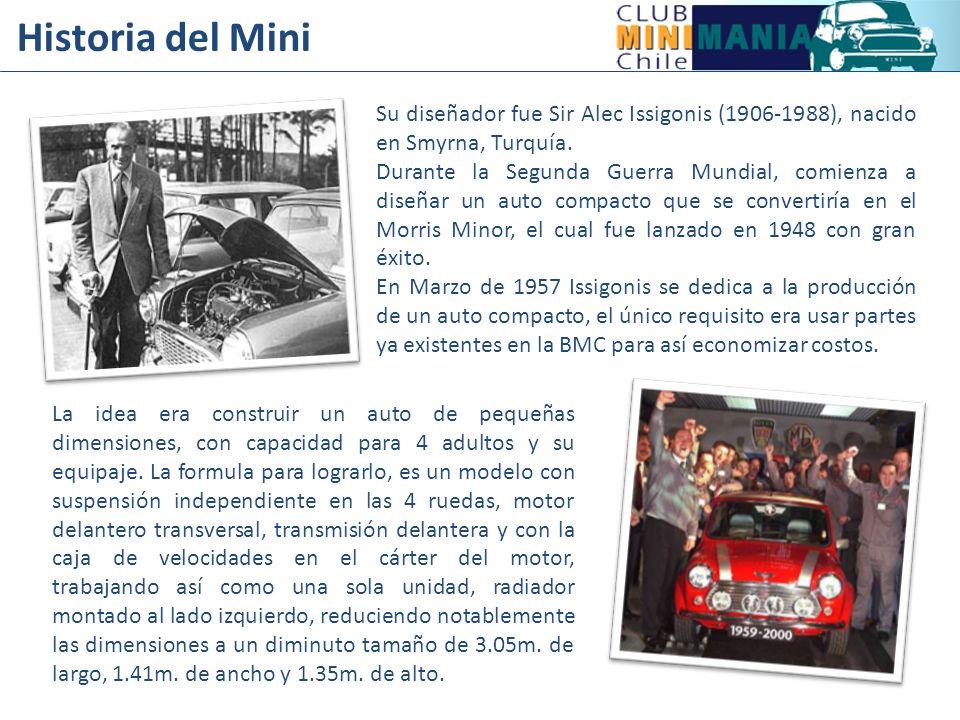 Historia del Mini Su diseñador fue Sir Alec Issigonis (1906-1988), nacido en Smyrna, Turquía.