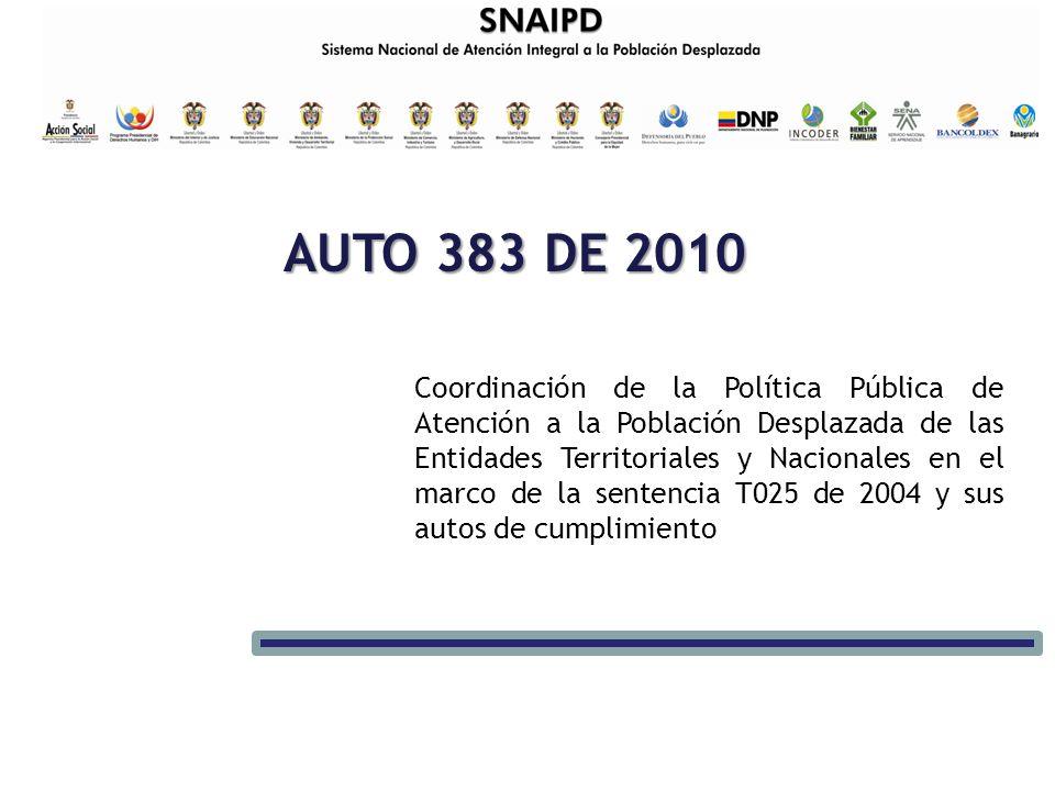 AUTO 383 DE 2010 Coordinación de la Política Pública de Atención a la Población Desplazada de las Entidades Territoriales y Nacionales en el marco de la sentencia T025 de 2004 y sus autos de cumplimiento