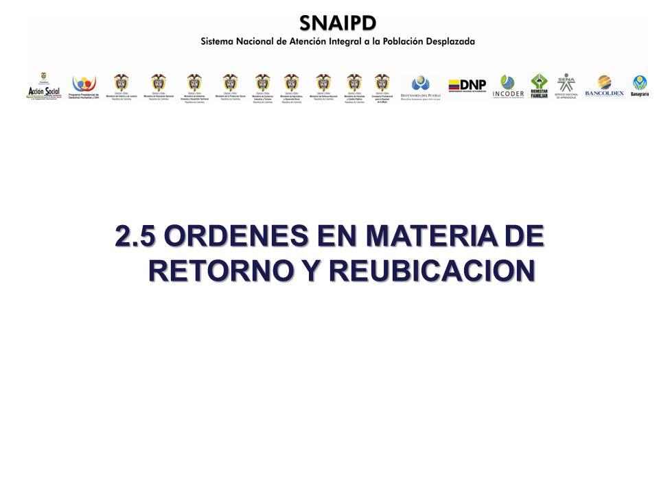 2.5 ORDENES EN MATERIA DE RETORNO Y REUBICACION
