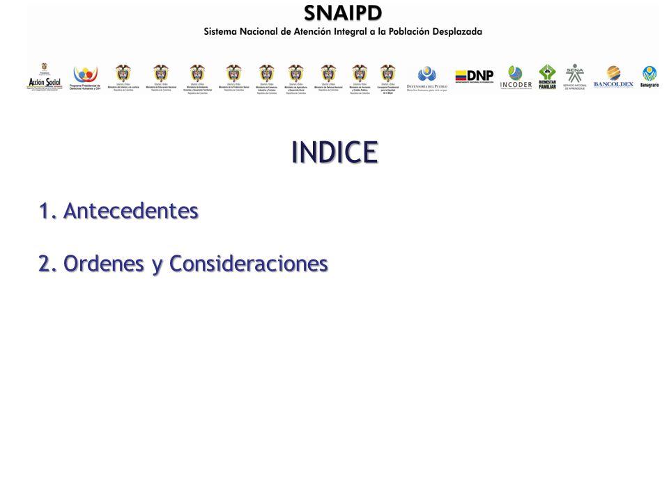 INDICE 1.Antecedentes 2.Ordenes y Consideraciones