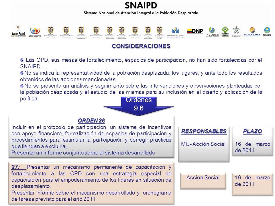 CONSIDERACIONES Las OPD, sus mesas de fortalecimiento, espacios de participación, no han sido fortalecidas por el SNAIPD.