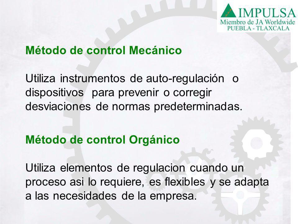 Método de control Mecánico Utiliza instrumentos de auto-regulación o dispositivos para prevenir o corregir desviaciones de normas predeterminadas.