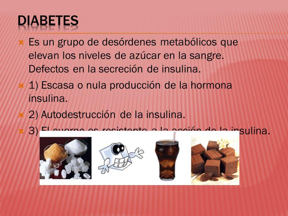 Es un grupo de desórdenes metabólicos que elevan los niveles de azúcar en la sangre. Defectos en la secreción de insulina. 1) Escasa o nula producción