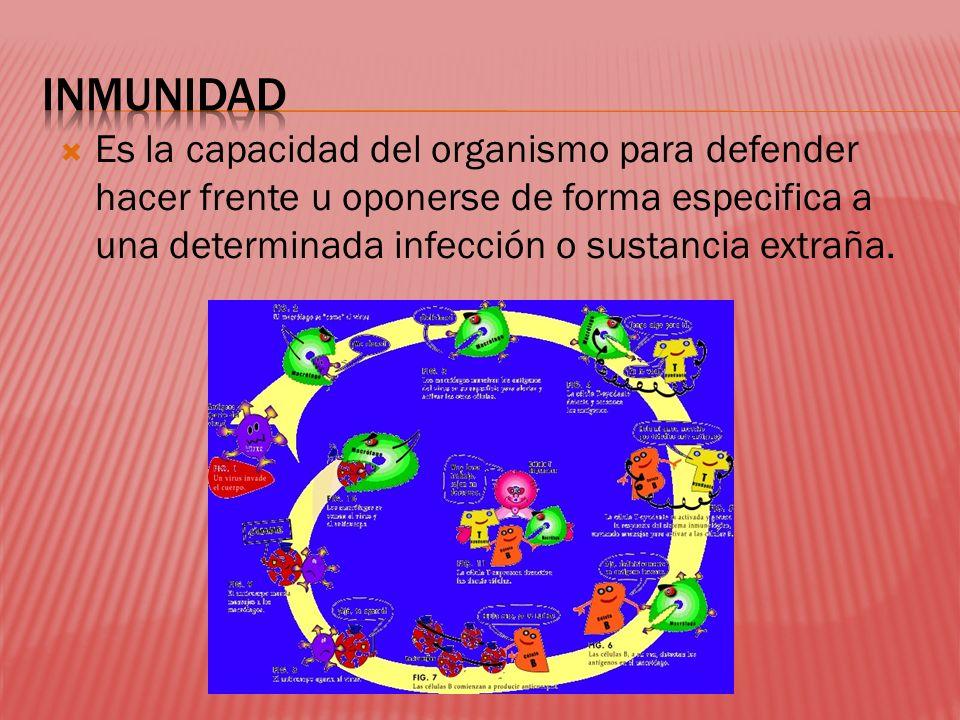 Es la capacidad del organismo para defender hacer frente u oponerse de forma especifica a una determinada infección o sustancia extraña.