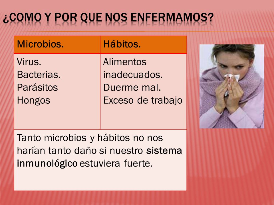 Microbios.Hábitos. Virus. Bacterias. Parásitos Hongos Alimentos inadecuados. Duerme mal. Exceso de trabajo Tanto microbios y hábitos no nos harían tan