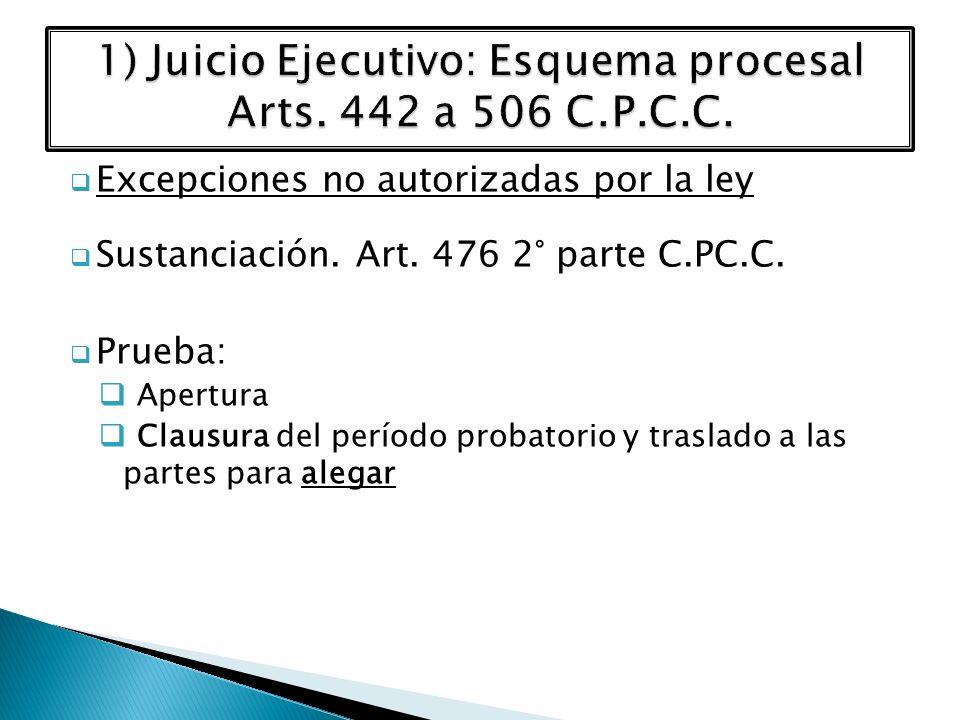 Excepciones no autorizadas por la ley Sustanciación. Art. 476 2° parte C.PC.C. Prueba: Apertura Clausura del período probatorio y traslado a las parte