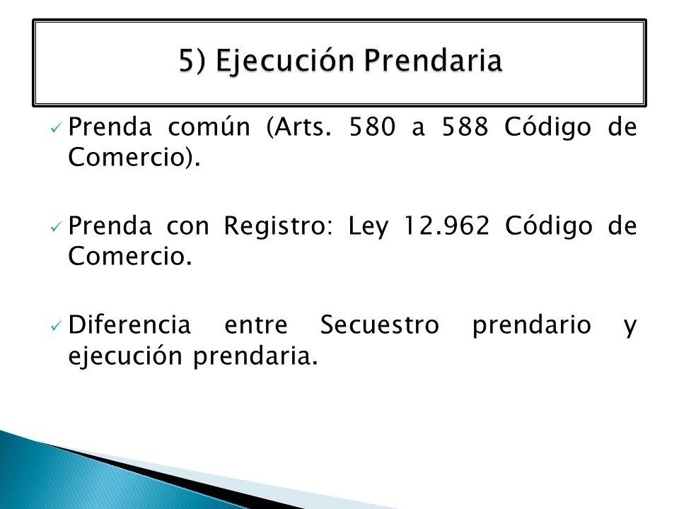 Prenda común (Arts. 580 a 588 Código de Comercio). Prenda con Registro: Ley 12.962 Código de Comercio. Diferencia entre Secuestro prendario y ejecució