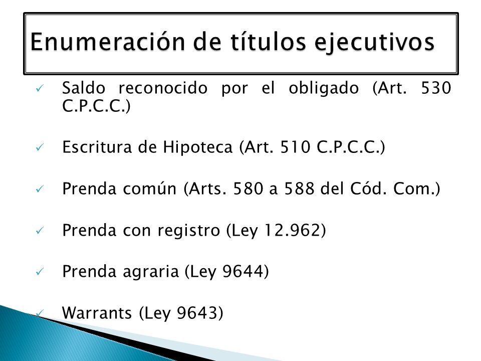 Saldo reconocido por el obligado (Art. 530 C.P.C.C.) Escritura de Hipoteca (Art. 510 C.P.C.C.) Prenda común (Arts. 580 a 588 del Cód. Com.) Prenda con
