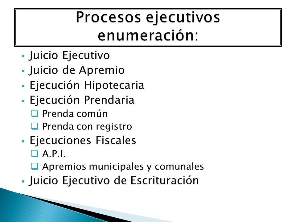 Juicio Ejecutivo Juicio de Apremio Ejecución Hipotecaria Ejecución Prendaria Prenda común Prenda con registro Ejecuciones Fiscales A.P.I. Apremios mun