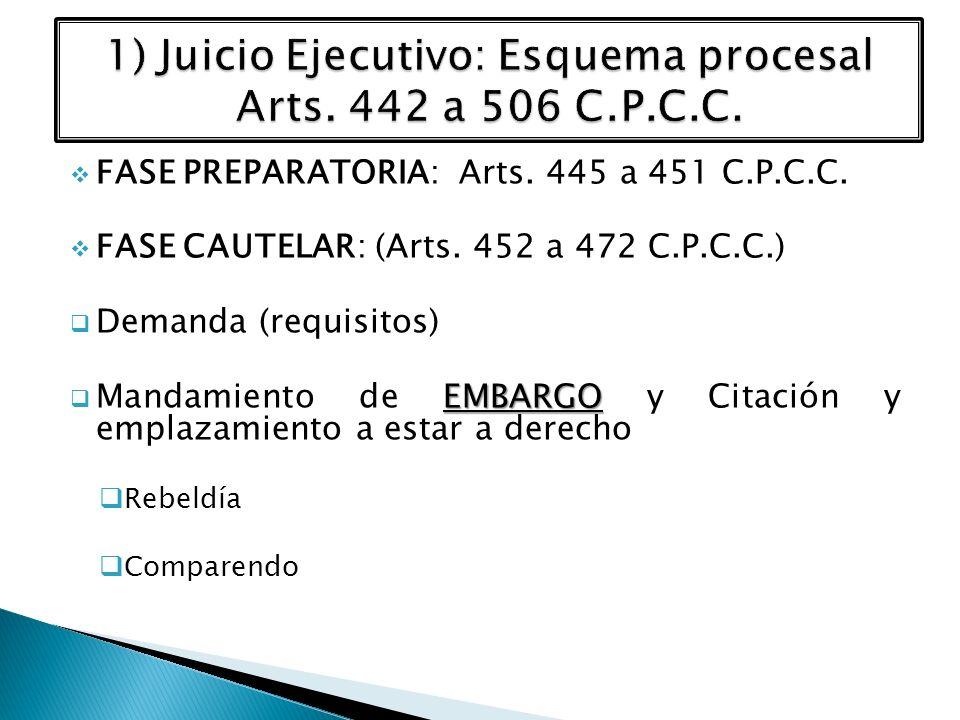 FASE PREPARATORIA: Arts. 445 a 451 C.P.C.C. FASE CAUTELAR: (Arts. 452 a 472 C.P.C.C.) Demanda (requisitos) EMBARGO Mandamiento de EMBARGO y Citación y