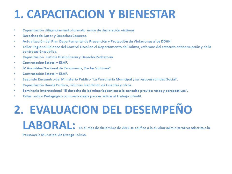1.CAPACITACION Y BIENESTAR Capacitación diligenciamiento formato único de declaración victimas.