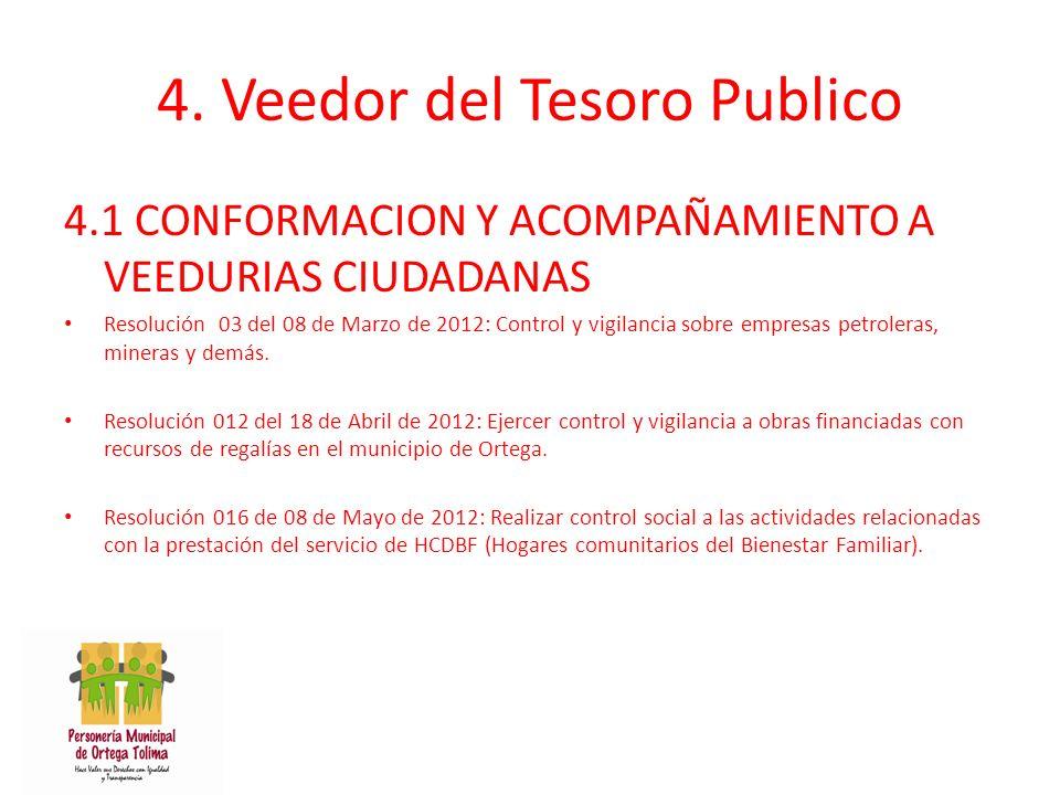 4. Veedor del Tesoro Publico 4.1 CONFORMACION Y ACOMPAÑAMIENTO A VEEDURIAS CIUDADANAS Resolución 03 del 08 de Marzo de 2012: Control y vigilancia sobr