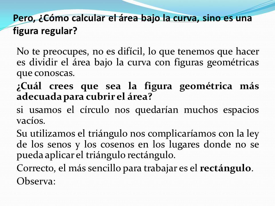 Pero, ¿Cómo calcular el área bajo la curva, sino es una figura regular.