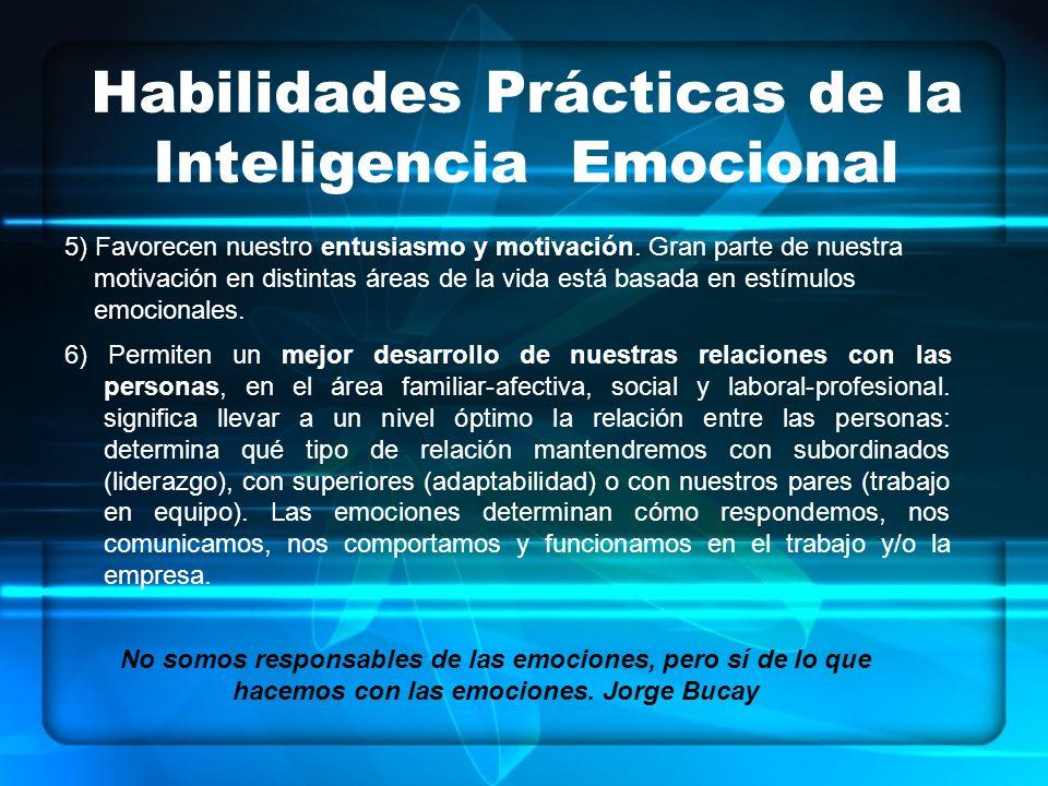 Habilidades Prácticas de la Inteligencia Emocional 6) Permiten un mejor desarrollo de nuestras relaciones con las personas, en el área familiar-afectiva, social y laboral-profesional.
