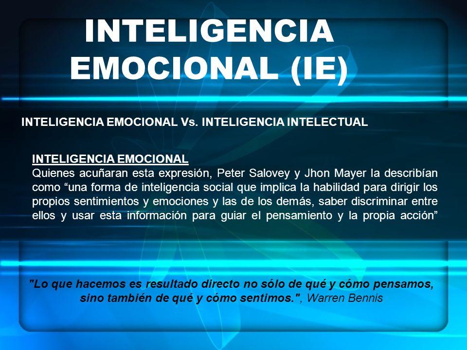 INTELIGENCIA EMOCIONAL (IE) INTELIGENCIA EMOCIONAL Vs. INTELIGENCIA INTELECTUAL INTELIGENCIA EMOCIONAL Quienes acuñaran esta expresión, Peter Salovey