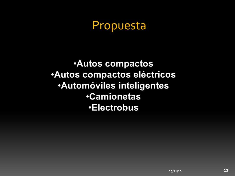 19/11/10 12 Propuesta Autos compactos Autos compactos eléctricos Automóviles inteligentes Camionetas Electrobus