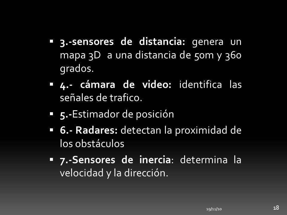 19/11/10 18 3.-sensores de distancia: genera un mapa 3D a una distancia de 50m y 360 grados. 4.- cámara de video: identifica las señales de trafico. 5