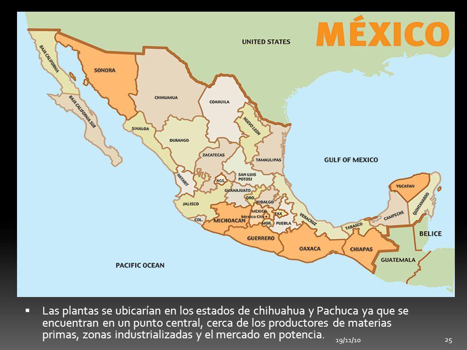 19/11/10 25 Las plantas se ubicarían en los estados de chihuahua y Pachuca ya que se encuentran en un punto central, cerca de los productores de mater