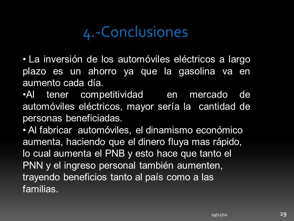 4.-Conclusiones La inversión de los automóviles eléctricos a largo plazo es un ahorro ya que la gasolina va en aumento cada día. Al tener competitivid
