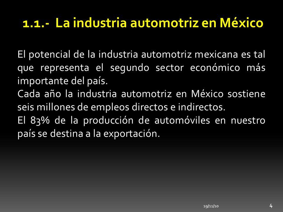 1.1.- La industria automotriz en México 19/11/10 4 El potencial de la industria automotriz mexicana es tal que representa el segundo sector económico
