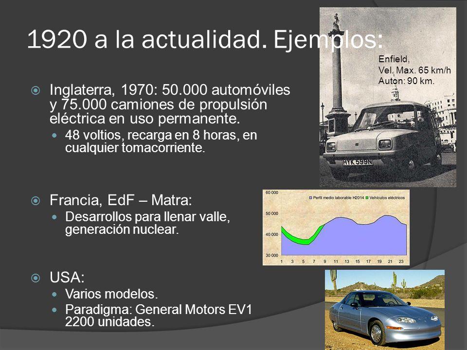 1920 a la actualidad. Ejemplos: Inglaterra, 1970: 50.000 automóviles y 75.000 camiones de propulsión eléctrica en uso permanente. 48 voltios, recarga