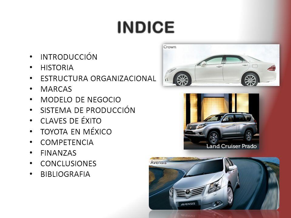INTRODUCCIÓN HISTORIA ESTRUCTURA ORGANIZACIONAL MARCAS MODELO DE NEGOCIO SISTEMA DE PRODUCCIÓN CLAVES DE ÉXITO TOYOTA EN MÉXICO COMPETENCIA FINANZAS C