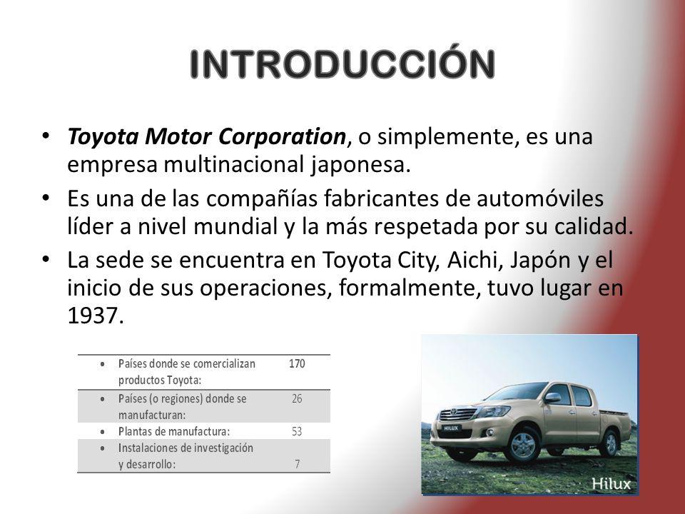 Toyota Motor Corporation, o simplemente, es una empresa multinacional japonesa. Es una de las compañías fabricantes de automóviles líder a nivel mundi