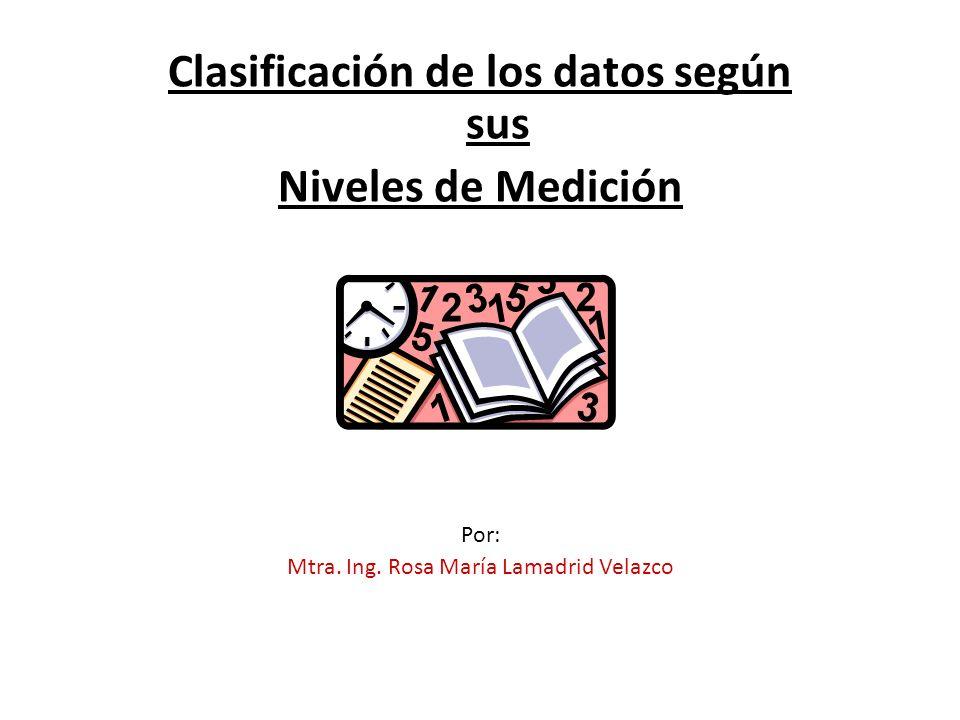 Clasificación de los datos según sus Niveles de Medición Por: Mtra.